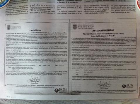 Aviso Ambiental-Revisión Plan de implantación estatal para Plomo Zona de No Logro de Arecibo