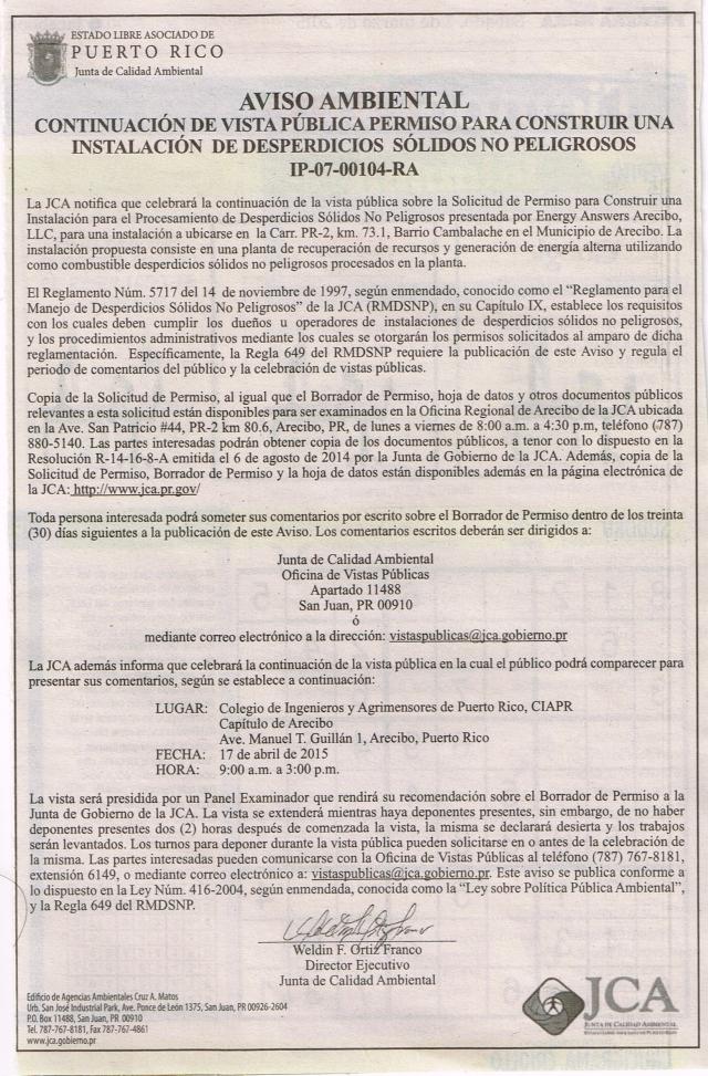 AVISO 2DA VIS PUB PERM JCA CENIZAS 2015.03